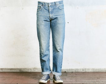 "Vintage Levis 501 Jeans . Worn In Faded Size 32"" Jeans Light Blue Denim Distressed W32 Stonewashed Denim Straight Leg Dad  Boyfriend Jeans"