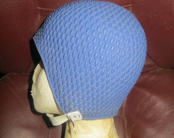 Ladie's Vintage blue Rubber Bathing Swim Cap with Chin  Strap // Waffle Weave Pattern Swimming Hat // Retro Swimwear