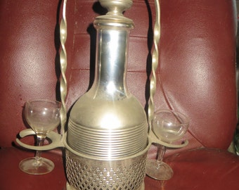 1900s  antique  THERMOS Carafe / AMERICAN THERMOS bottle  Carafe  set  w  2 crystal  glasses and server stand