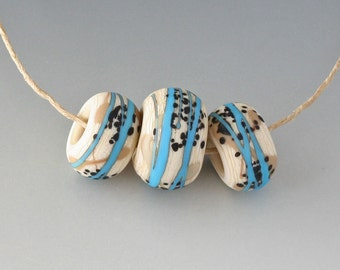 Southwest BHB Set - (3) Handmade Lampwork Beads - Black, Turquoise, Ivory - Etched, Matte