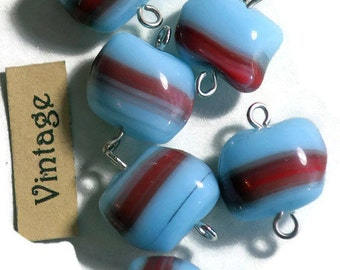 Vintage Glass Connectors Beads Czech 9mm 2 Loops Milk Blue Red Shabby Chic Charms Earring Parts Findings Wholesale. #1547J
