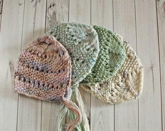 """PDF Knitting Pattern - Knit Bonnet Pattern - Newborn Photo Prop Pattern """"Pebbles and Lace"""""""