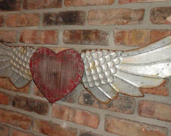 Rustic Wood Heart and Metal Wings, Angel Wings, Shabby Wall Decor, Distressed Wood and Metal, Wall Art,