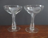 Pair Hollow Stem Champagne Coupes Glass Stemware Hughes Cornflower