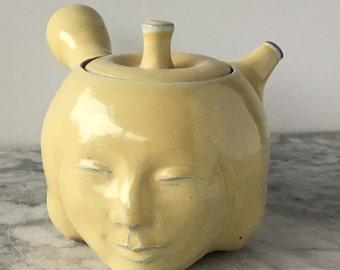 Face Teapot Sculpture Kyusu, Soda Fired Smiling Serving Side Handle Tea Pot