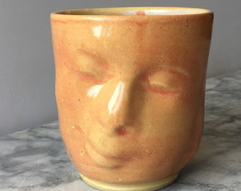 Smiling Face Cup Art Tumbler Yunomi Buddha Sculpture Vessel Head Mug