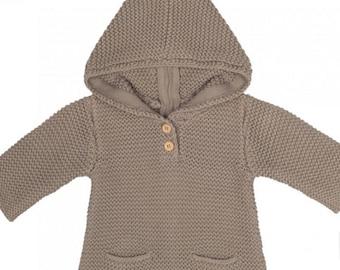 CUSTOM listing for malouathousig Hand Knit baby coat Hooded children's Jacket Merino wool Coat