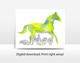 ASL Watercolor Horse: printable, nursery art, Deaf culture, sign language, jpg, pdf, png