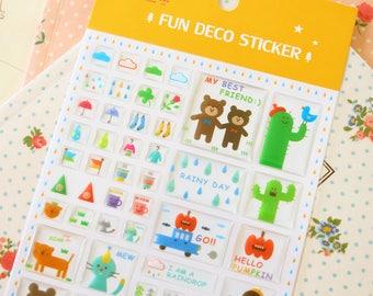 Orange Fun Deco Puffy scrapbooking diary stickers