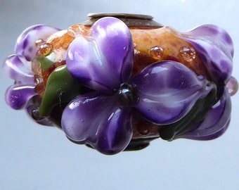 Destash Lampwork Bead Copper Capped and Cored Focal Floral Bead by Donna Millard