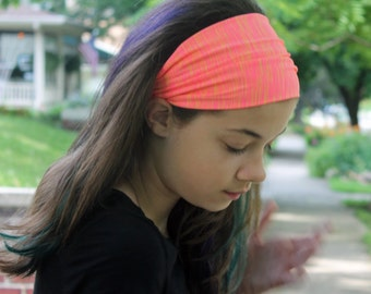 Daughter Gift, Neon Pink Headband, Sweat Wicking Hair Band, Neon Pink Head Wrap, Bright Pink Adult Head Wrap (#1212) S M L X