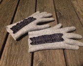Felted grey merino wool gloves with velvet ribbon