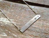 Stamped Arrow or Initial Bar Necklace in Sterling Silver Rectangle Tag Name Typewriter