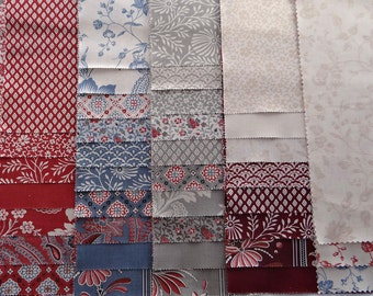 PONDICHERRY Moda Fabric 43 piece sample set applique scrappy shabby quilt French General Kaari Meng turkey red woad blue sewing