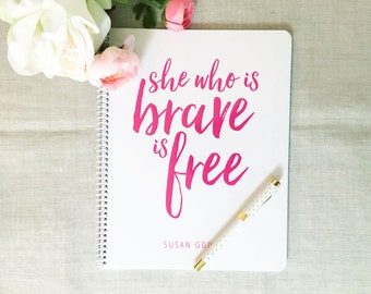 She Who Is Brave | Personalized Spiral Notebook | Inspirational Quote | Flamingos for a Cure | Breast Cancer Awareness | Encouragement Gift