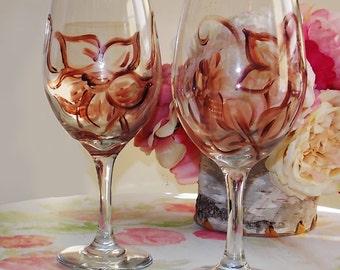 Brown floral wine glasses set of 2