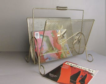 mid century magazine rack - gold finish -mcm