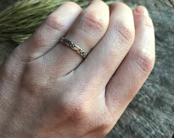 Sterling silver stackable ring with flower design! Made to order in your size!