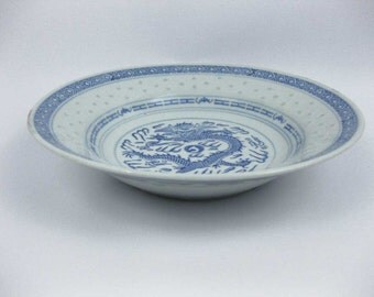 """Chinese Blue And White Rice Grain Dragon Round Serving Soup Bowl  8-3/4"""""""