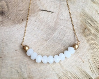 Opal White and Gold Bar Necklace