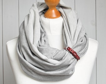 Infinity scarf with leather cuff, infinity scarves ZOJANKA, tube scarf, infinity scarves, casual scarf with leather strap
