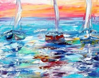 Sunrise Boats Original oil painting palette knife impressionism on canvas fine art by Karen Tarlton