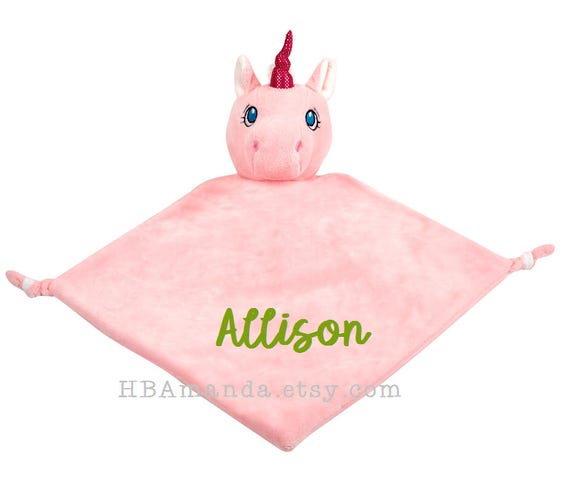 PINK Unicorn Lovie Blanket - White + Pink Monogrammed Unicorn Blankie - PRE-ORDER