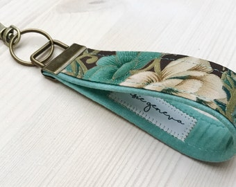Vintage Key Fob Wristlet - Keychain - Brown and Aqua Floral - Personalized Option