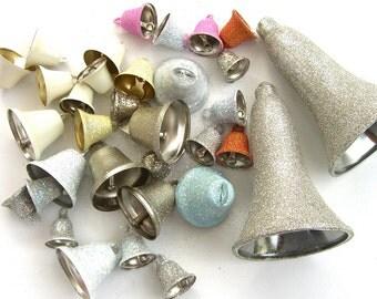 Assorted Destash Wedding Bells, Multi Color, Sparkling Glitter, Lot 30 Wedding Decorations Favors, Mini