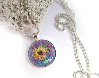 Flower Pendant Necklace - Embroidered - Sunflower - Textile Art Jewelry