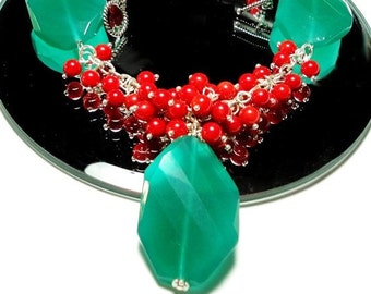 Christmas Necklace Holly Leaves and Berries Gemstone Necklace with Green Onyx Leaves and Red Coral Berries Necklace with Sterling