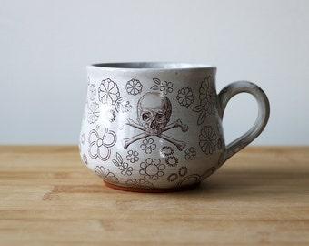 Floral Skull mug- Ready to ship