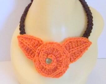 Orange Crochet Flower Choker Necklace, Handmade, Women, Versatile, Accessorie