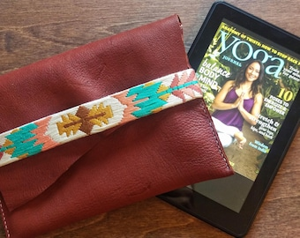 Needlepoint and Leather Clutch - Small Tablet or Phone Case - Silk and Deer Hide Leather