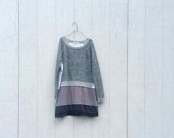 Sweatshirt Dress Tunic funky upcycled boho gypsy  wearable art tunic dress by CreoleSha