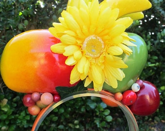 Tropical Fruits - BANANAS - MANGO - APPLE -  Headband - Carmen Miranda style -