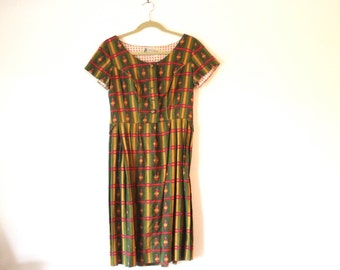"""Retro Mod  Day Dress w/ Piping Mini Bustle Patterned - French Designer Label - Expertly Made Unique - Patterned - 29"""" Waist"""