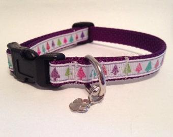 Extra Small Colorful Christmas trees Holiday dog collar