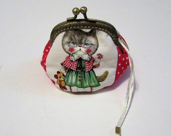 Handmade Cat Coin Purse, Bags and Purses, Coin Purse, Cat Purse, Small Purse, Change Purse, Pouches & Coin Purses, Silk Screen Fabric, Women