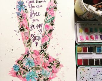 Original bees and bunny watercolor painting