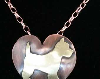Copper Heart Pendant  with Brass Scotty Dog