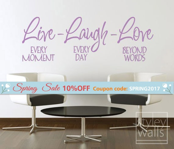 Live Laugh Love Vinyl lettering Wall Decal, Vinyl Lettering Home Decor, Live Laugh Love Quote Wall Decal Sticker