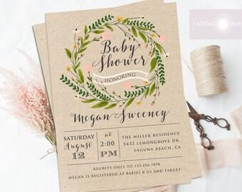 Flower Wreath Baby Shower Invitation, Flower Invitation, Rustic Baby Shower Invite, Floral Shower Invite, Digital, Printable, jadorepaperie