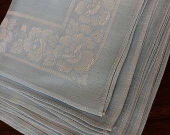 Set of 8 Vintage Cloth Napkins Pale Blue