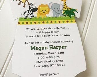 Baby Shower Onesie Invitation / Jungle / Baby Neutral / Set of 10