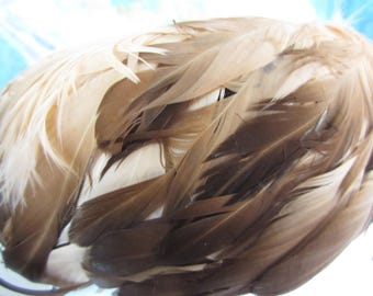 Vintage Herbert Bernard Vintage Feather Hat Loaded with Brown & Tan Feathers Ombre Style