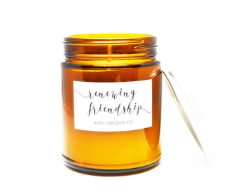 Renewing Friendship with Virginia Fir Soy Candle in Amber Glass Jar with Silver Lid