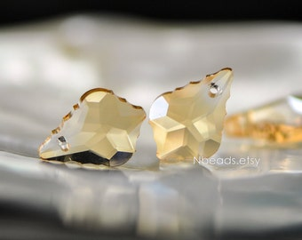 20pcs Unique Teardrop Crystal Chandelier Beads 22x15mm, Faceted Glass Leaf Charms, Sparkly Gold Champagne (TS77-1)