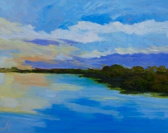 Modern Contemporary Impressionist Original Oil Landscape Painting of Marsh Sunset by Rebecca Croft
