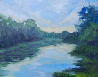 Modern Impressionist Original Oil Landscape Painting Sunset Over the River by Rebecca Croft